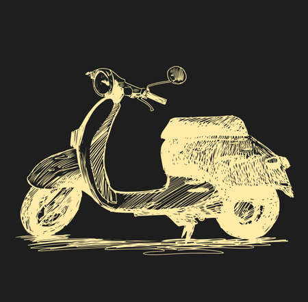Scooter. Retro transport. Vector hand drawn illustration Stock Photo