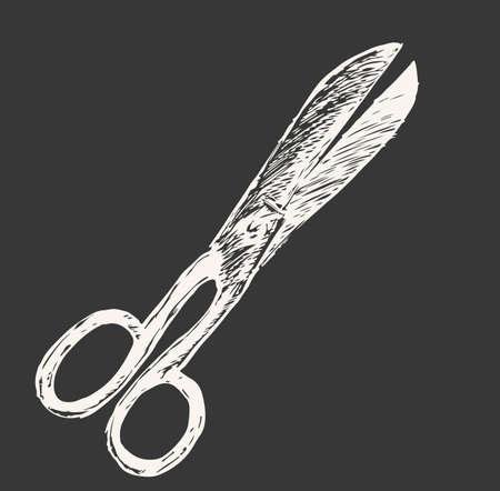 Vector engraving illustration of scissors on white background