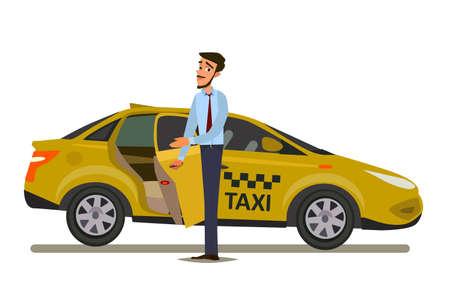 Conceito de motorista de táxi. Carro, transporte, transporte, símbolo de transferência ou ícone. Ilustração vetorial Foto de archivo - 93505823