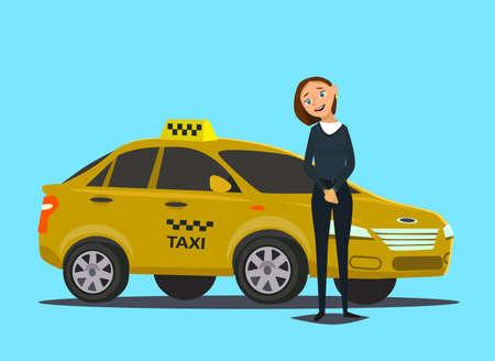 Conceito de motorista de táxi. Carro, transporte, transporte, símbolo de transferência ou ícone. Ilustração vetorial
