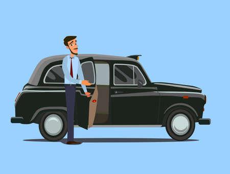 Taxista. Ilustración de vector de estilo plano. Concepto de taxista.