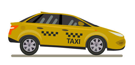 Yellow taxi car Vector illustration in flat style. Ilustração