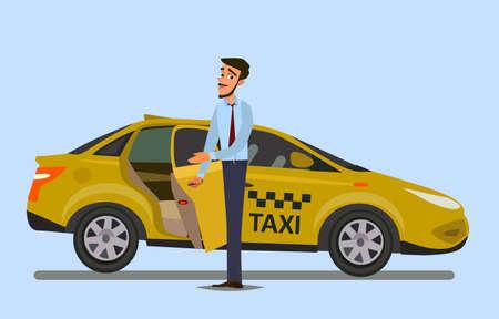 Taxista. Ilustración de vector de estilo plano. Concepto de taxista. Foto de archivo - 93488911