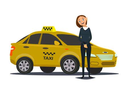 Taxi driver concept. Car, transport, transportation, transfer symbol or icon. Vector illustration