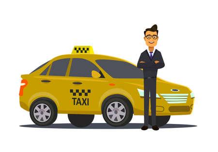 Conceito de motorista de táxi. Carro, transporte, transporte, símbolo de transferência ou ícone. Ilustração vetorial Ilustración de vector