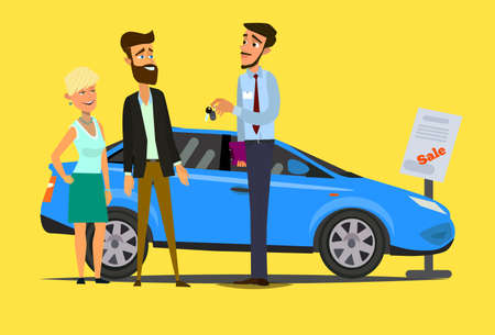 Sale of a new car. The seller at the car showroom shows the vehicle. Illustration