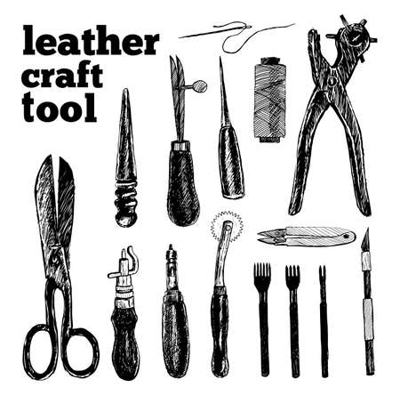 Leather craft tools in graphic style hand-drawn vector illustration. 일러스트