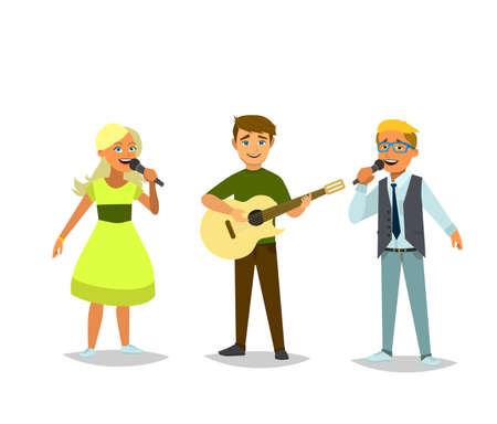 Kinder muzikaal trio. Jongen en meisjes zingen een lied. De jongen speelt gitaar. Vector illustratie in cartoon-stijl.