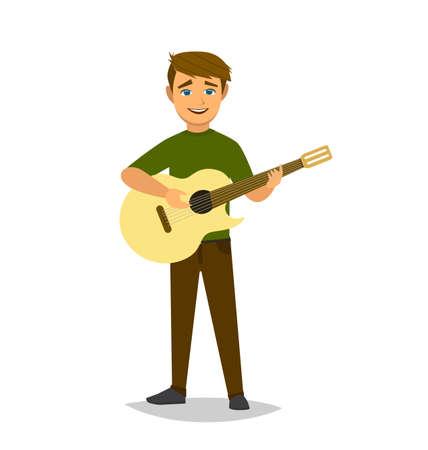 El niño toca la guitarra. Ilustración de vector de estilo de dibujos animados Ilustración de vector en estilo Multan.