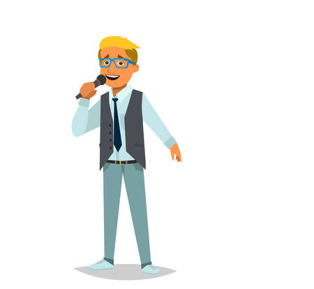 Boy singing a song. Vector illustration in cartoon style.