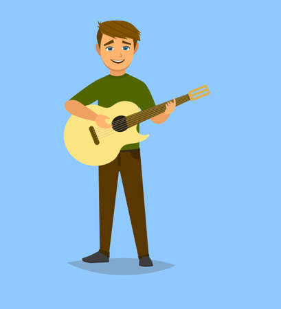 The boy plays the guitar. Vector illustration in cartoon style. Vector illustration in Multan style.