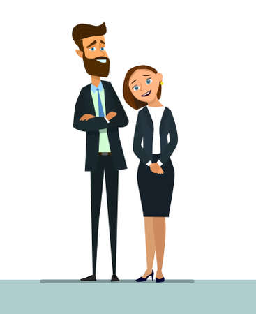 Company employees vector illustration in a flat style. Vettoriali
