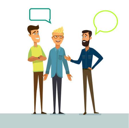 Rozmowa z przyjaciółmi. Ilustracja wektorowa w stylu płaski