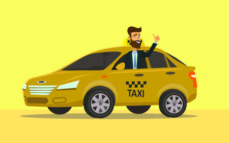 Taxi driver vector illustration in flat style.