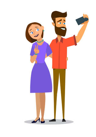 Happy couple taking selfie. Man and woman are photographed together vector illustration in a flat style. Illustration