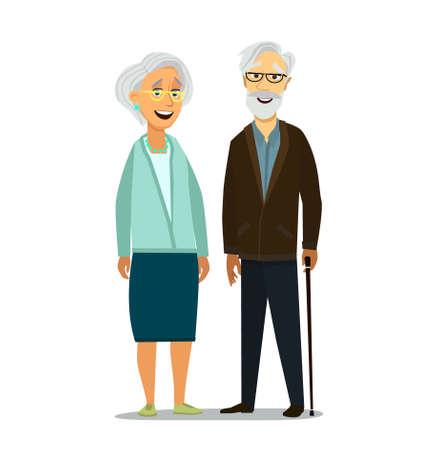 Elderly couple holding hands. Vector illustration in cartoon style