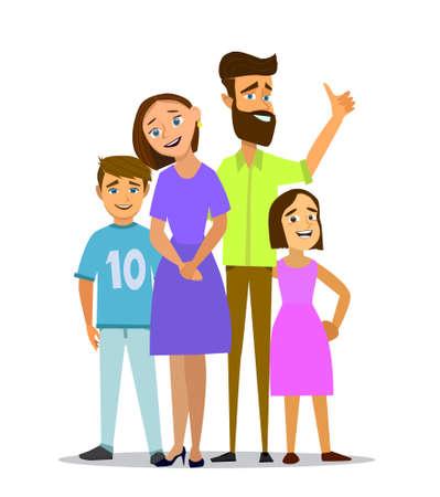 Big family together vector illustration of a flat design.