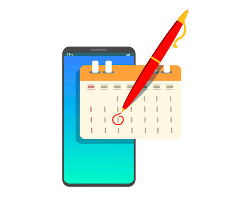 Market calendar on mobile smartphone. Vector icon in trendy flat style. The agenda symbol for your website.