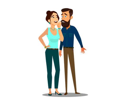 Donna che bisbiglia segreti pettegolezzi nell'orecchio dell'uomo d'affari. Illustrazione vettoriale in stile cartone animato. Vettoriali