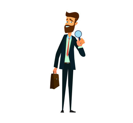 Analyst and consultant researcher character. Investigation or research job.Vector illustration in cartoon style.
