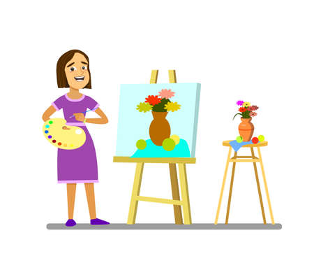 A girl with a palette draws a still life. .Vector illustration in cartoon style. Standard-Bild - 114917201