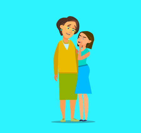 Trusting daughter telling secrets in mom ear standing next to her..Vector illustration in cartoon style.