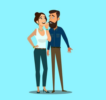 Woman whispering gossip secrets in business man ear. Vector illustration in cartoon style. Standard-Bild - 114917203