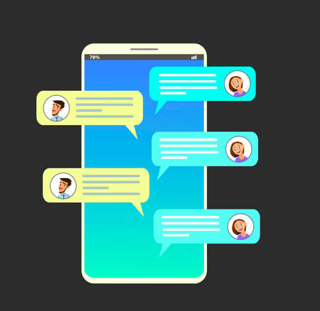 Smartphone with messaging sms app. Chat bubbles on mobile phone touchscreen. Chat between man and woman. Social netwroking. Discussion, talking, assistance. Vector illustration in flat style Standard-Bild - 114917204