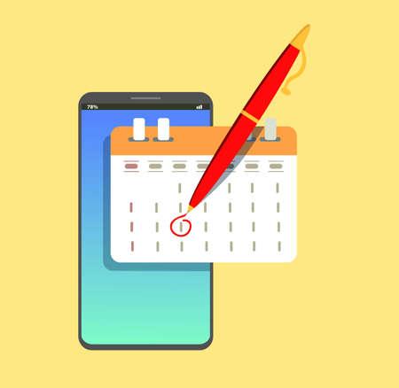 Market calendar on mobile smartphone. Vector icon in trendy flat style. The agenda symbol for your website. Standard-Bild - 114917206
