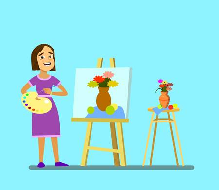 A girl with a palette draws a still life. .Vector illustration in cartoon style. Standard-Bild - 114917207
