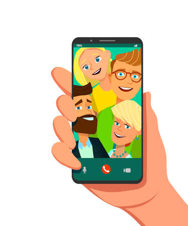 Toned. Picture of best friends making selfie on mobile or smart phone while spending free time. Vector illustration in cartoon style. Standard-Bild - 114917208