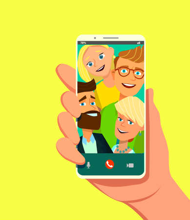 Toned. Picture of best friends making selfie on mobile or smart phone while spending free time. Vector illustration in cartoon style. Standard-Bild - 114917209