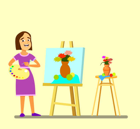 A girl with a palette draws a still life. .Vector illustration in cartoon style. Standard-Bild - 114917210