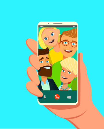 Toned. Picture of best friends making selfie on mobile or smart phone while spending free time. Vector illustration in cartoon style. Standard-Bild - 114917211