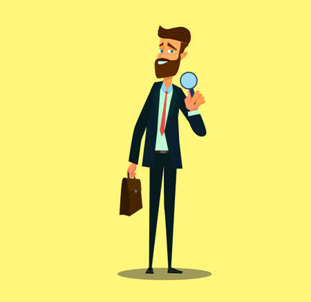 Analyst and consultant researcher character. Investigation or research job.Vector illustration in cartoon style. Standard-Bild - 114917213