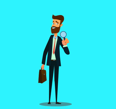 Analyst and consultant researcher character. Investigation or research job.Vector illustration in cartoon style. Standard-Bild - 114917214