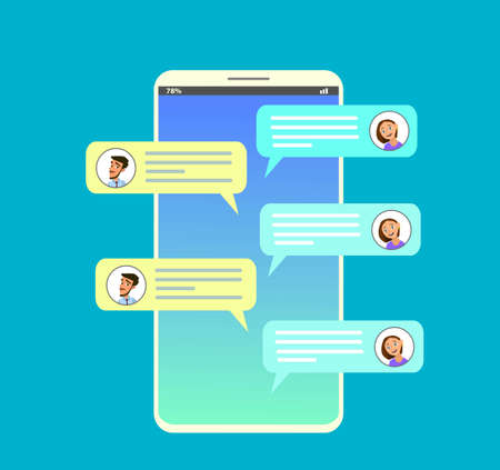 Smartphone with messaging sms app. Chat bubbles on mobile phone touchscreen. Chat between man and woman. Social netwroking. Discussion, talking, assistance. Vector illustration in flat style Standard-Bild - 114917216