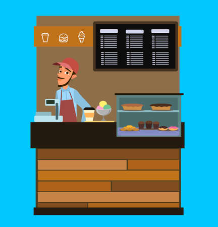 Chinese entrepreneurs couple owners of small coffee and pastry shop business. vector illustration in flat style. Standard-Bild - 114753275