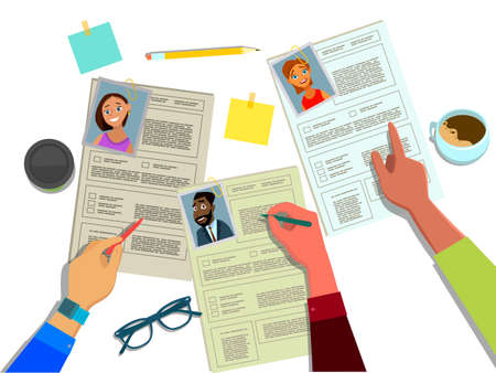 The HR Manager reviews the resumes of candidates for jobs of businessmen and women . Search, check and hire employees. Headhunting concept vector illustration in flat style. Standard-Bild - 114753276