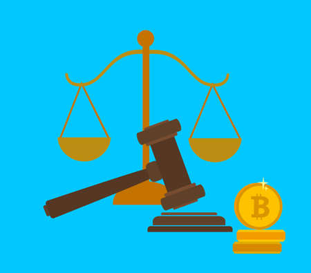 Concept of cryptocurrency legislation, digital currency law regulation and legislative control. Vector illustration in a flat style. Standard-Bild - 114753280