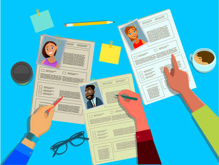 The HR Manager reviews the resumes of candidates for jobs of businessmen and women . Search, check and hire employees. Headhunting concept vector illustration in flat style.