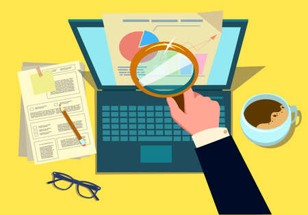 Audit research on computer vector illustration, flat cartoon paper financial report data analysis on pc. Vector illustration in a flat style.