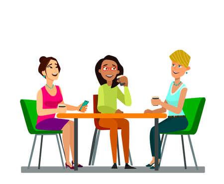 Tres niñas sentadas en una mesa juntas hablando durante la pausa para el café. Ilustraciones de símbolos vectoriales planos ilustraciones vectoriales en estilo de diseño de dibujos animados planos.