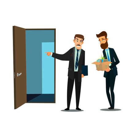 Entlassener Büroangestellter und Chef. Vektorillustration in der flachen Designartkarikatur.