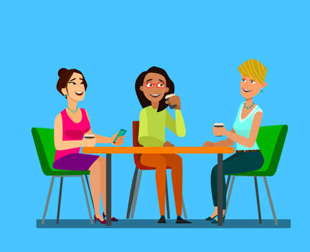 Three girls sitting at a table together talking to coffee break. Flat vector symbol illustrations vector illustrations in flat cartoon design style.