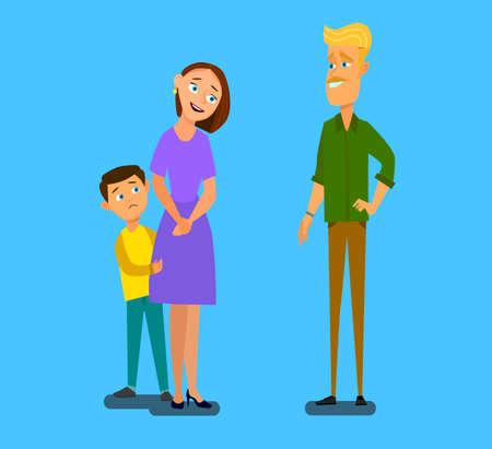 Madre monoparental con hijo asustado hablando con un extraño. Ilustración de vector de estilo de dibujos animados.