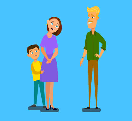 Single parent mother with scared son talking to stranger. Vector illustration in cartoon style. Imagens - 112104043