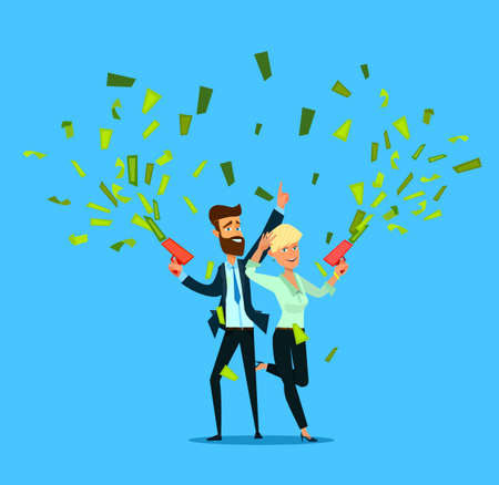 Successful Businessman And Woman Throwing Money. Vector illustration in cartoon style.