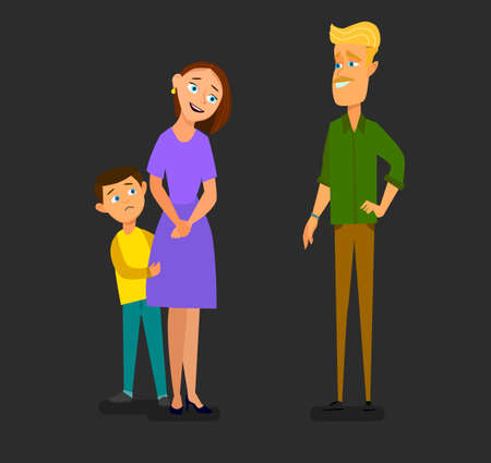 Single parent mother with scared son talking to stranger. Vector illustration in cartoon style.