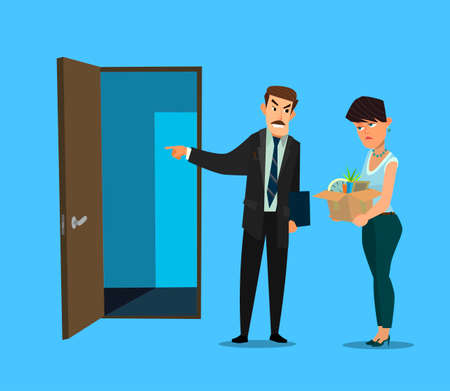 Fired office worker and boss. Vector illustration in flat design style cartoon. Vetores